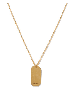 Saint Laurent - Id Tag Metal Necklace - Womens - Gold