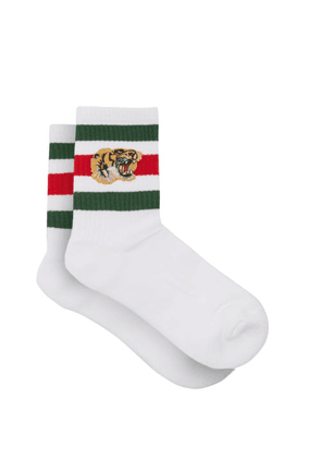 Gucci - Stretch Cotton-blend Socks With Tiger - Mens - White