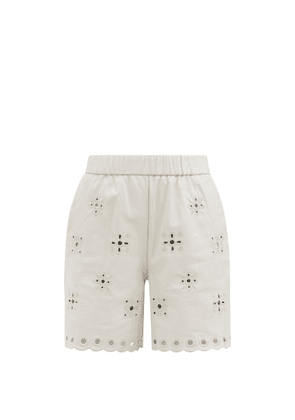 REDValentino - Cutout-embroidered Leather Shorts - Womens - White