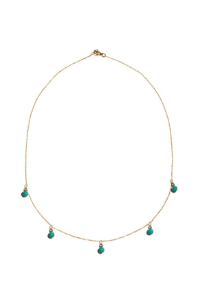 Mateo - Five Dot Diamond, Turquoise & 14kt Gold Necklace - Womens - Blue