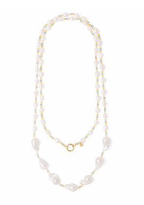 Prada 18kt yellow gold beaded baroque pearl necklace - White