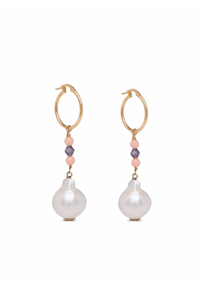 Prada 18kt yellow gold bead and baroque pearl drop earrings - White