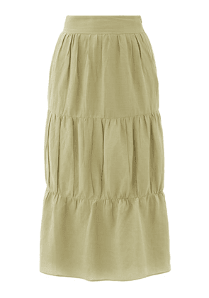 Adriana Degreas - High-rise Tiered Voile Midi Skirt - Womens - Light Green