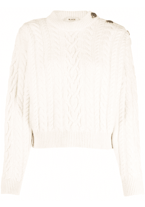 Blazé Milano cable-knit buttoned jumper - White