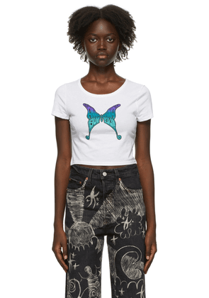 Anna Sui SSENSE Exclusive White & Blue Hiroshi Tanabe Edition Butterfly Baby T-Shirt