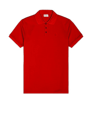 Saint Laurent New Sport Polo in Rouge - Red. Size S (also in M, XL).