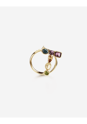 Dolce & Gabbana Collection - Rainbow alphabet T ring in yellow gold with multicolor fine gems GOLD female 46