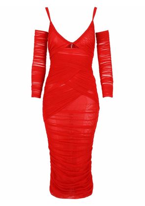 Dolce & Gabbana ruched mid-length dress - Red