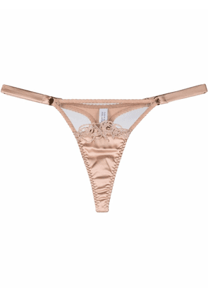 Fleur Of England Marlena embroidered thong - Neutrals