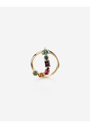 Dolce & Gabbana Collection - Rainbow alphabet J ring in yellow gold with multicolor fine gems GOLD female 46