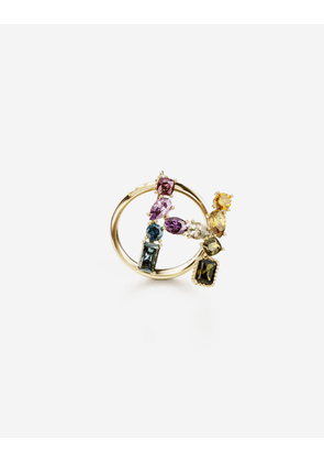 Dolce & Gabbana Collection - Rainbow alphabet H ring in yellow gold with multicolor fine gems GOLD female 46