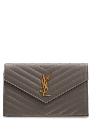 Monogram Embossed Leather Chain Wallet