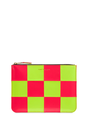 Fluo Squares Leather Pouch