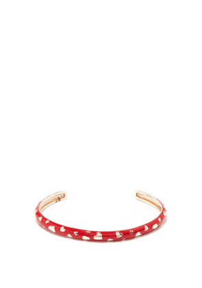 Alison Lou - Amour 14kt Gold & Enamel Cuff - Womens - Red Multi