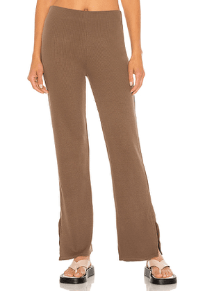 Lanston High Waist Slit Pant in Taupe. Size M, S, XS.
