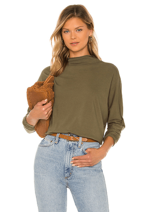 Frank & Eileen Funnel Neck Tee in Olive. Size XS, S, M.