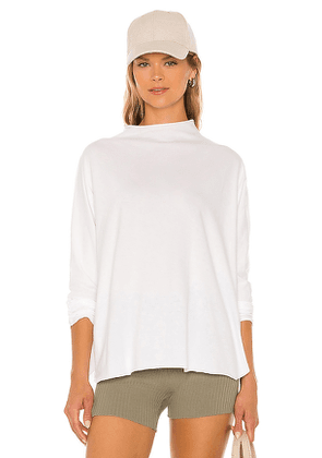 Frank & Eileen Funnel Neck Tee in White. Size XS, S, M.
