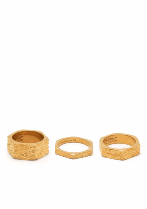 Off-White textured hexnut ring - Gold