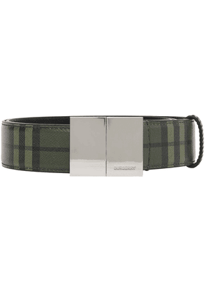 Burberry check leather belt - Green