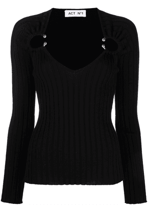 Act N°1 barbell-embellished ribbed-knit top - Black
