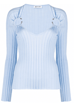 Act N°1 barbell-embellished ribbed-knit top - Blue