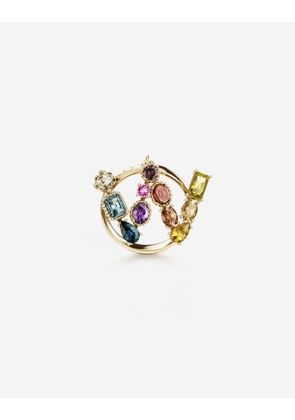 Dolce & Gabbana Collection - Rainbow alphabet W ring in yellow gold with multicolor fine gems GOLD female 46