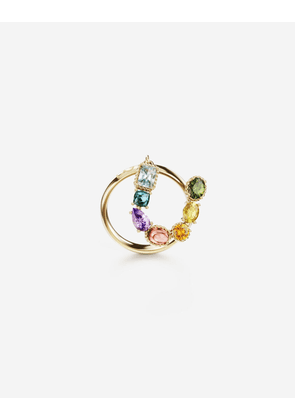 Dolce & Gabbana Collection - Rainbow alphabet U ring in yellow gold with multicolor fine gems GOLD female 46
