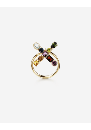 Dolce & Gabbana Collection - Rainbow alphabet X ring in yellow gold with multicolor fine gems GOLD female 46