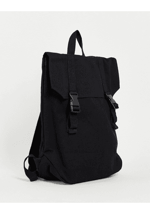 ASOS DESIGN backpack in black heavyweight canvas and double strap detail