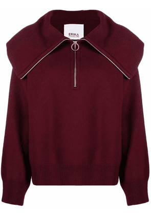 Erika Cavallini zip-up knitted top - Red
