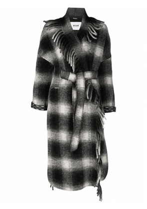 Bazar Deluxe checked fringed trench coat - Black