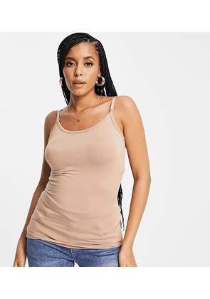 ASOS DESIGN Maternity nursing cami with clips in light brown