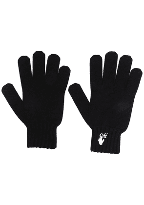 Off-White embroidered-logo knitted gloves - Black