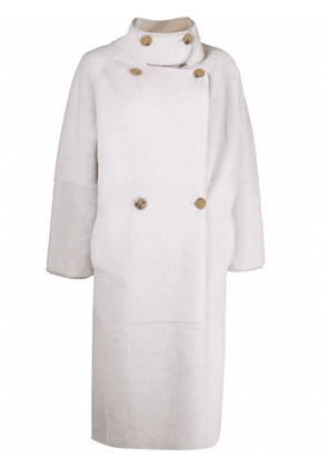 Blancha reversible double-breasted coat - White