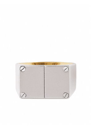 Burberry double plaque signet ring - Silver