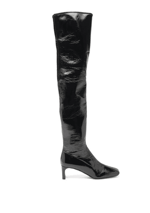 Prada - Square-toe Patent-leather Over-the-knee Boots - Womens - Black
