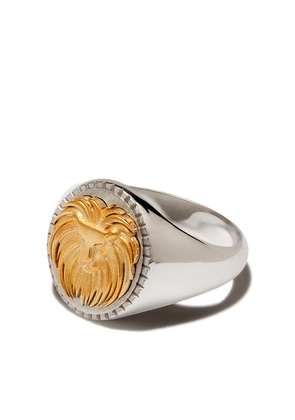 Foundrae 18kt white and yellow gold Leo signet ring - Silver