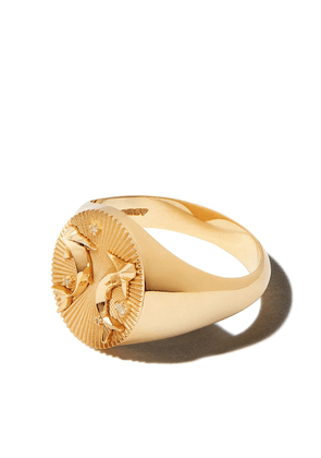 Foundrae 18kt yellow gold Pisces signet ring