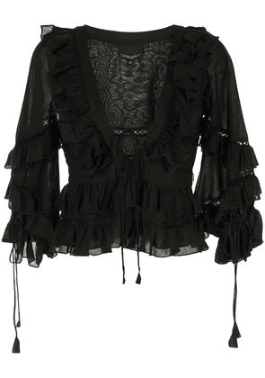 Cynthia Rowley Stella tie-front tiered blouse - Black