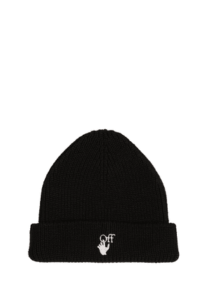 Hand Off Embroidered Rib Wool Beanie