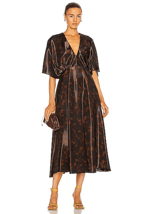 Brandon Maxwell Midi Dress With Draped Sleeve in Tortoise - Animal Print,Brown. Size 6 (also in ).