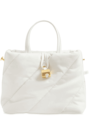 Nailed Zipped Quilted Leather Tote Bag