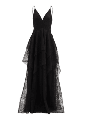 Givenchy - Tiered Chantilly-lace Gown - Womens - Black