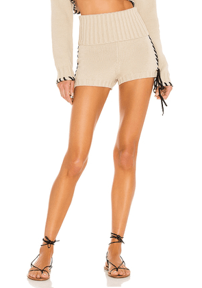 Lovers and Friends Annalisa Laced Fold Over Short in Beige. Size L.