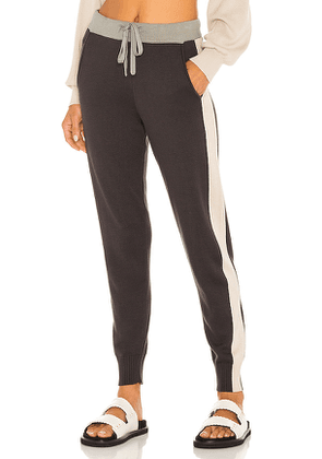 MONROW Colorblock Sporty Sweats in Navy,Green. Size L, S.