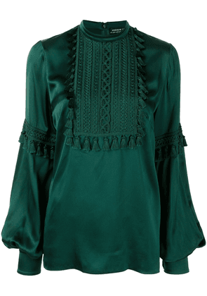 Andrew Gn puff-sleeve braided silk-blend blouse - Green