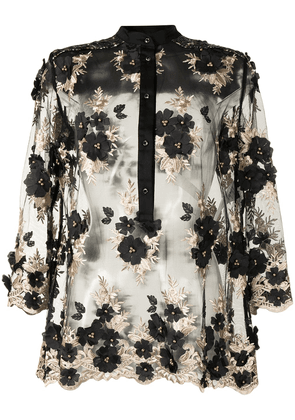 Antonio Marras floral-embroidered blouse - Brown