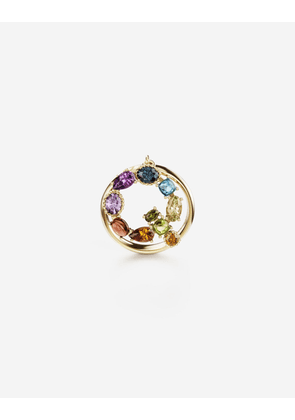 Dolce & Gabbana Collection - Rainbow alphabet Q ring in yellow gold with multicolor fine gems GOLD female 46