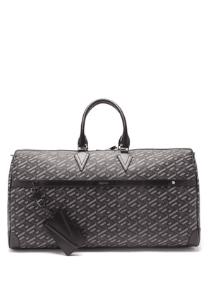 Versace - Logo-print Canvas And Leather Holdall Bag - Mens - Grey