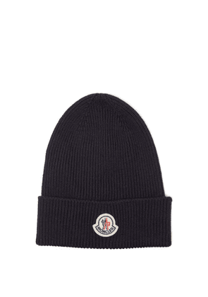 Moncler - Logo-patch Ribbed-knit Wool Beanie Hat - Mens - Navy